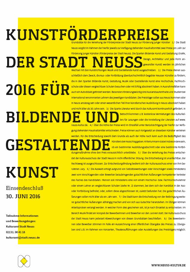 Bewerben um Kunstförderpreis 2016