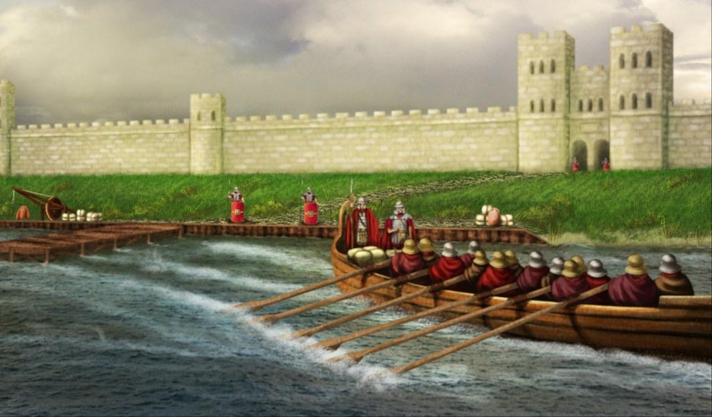 Der Hafen des römischen Legionslagers in Neuss. Zeichnung: Anja Klucke