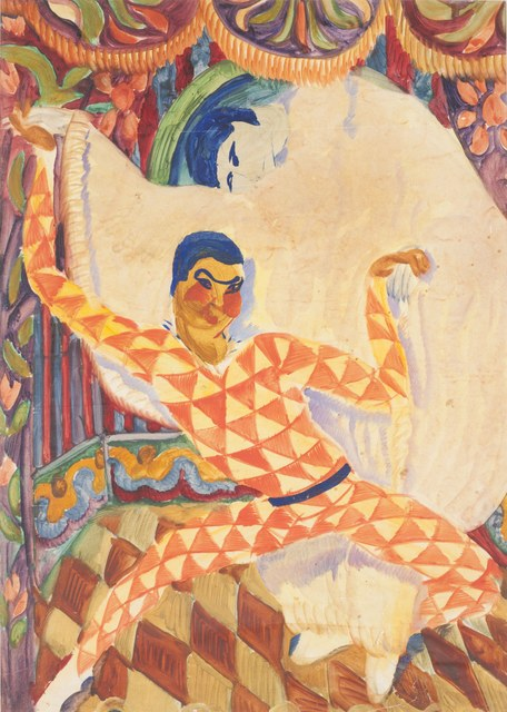Sergei Jutkewitsch Harlequin (Entwurf eines Theatervorhangs), 1920er Jahre, Aquarell und Gouache auf Papier,  Sammlung Rubinstein-Horowitz Foto: Carsten Gliese, Köln