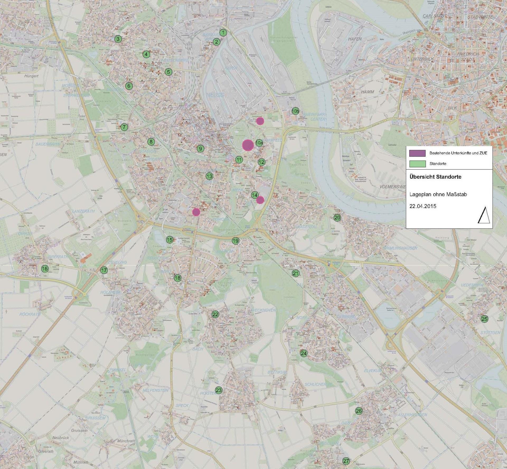 Übersichtskarte Potentialflächen Flüchtlingsunterbringung