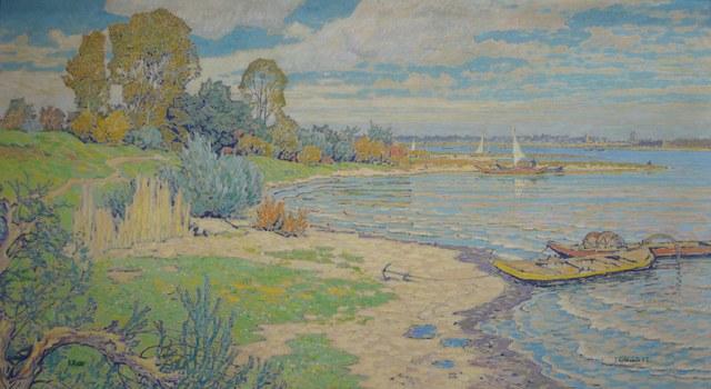 """""""Rheinuferlandschaft"""" von Josef Kohlschein d. Jg. — Öl auf Leinwand – 70 × 128 cm"""