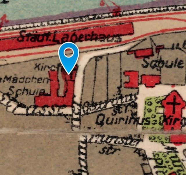 Kirche und Kloster Marienberg: Historischer Lageplan 1925