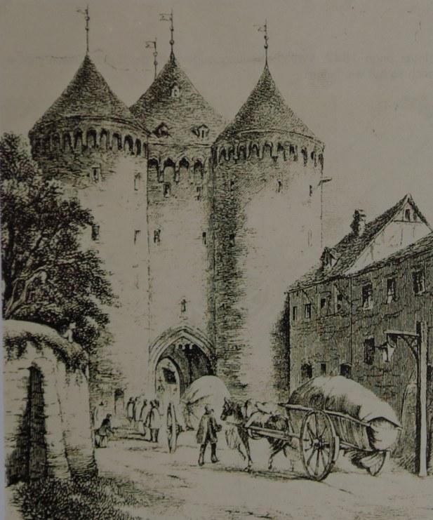 Feldseite des Obertores, Mitte 19. Jahrhundert