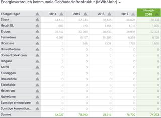 Abb. 12: Endenergieverbrauch der Stadtverwaltung Neuss 2014 bis 2018 nach Energieträgern in MWh