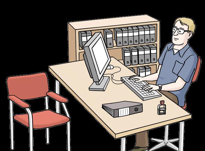 Bild von einem Mann, der im Amt arbeitet.