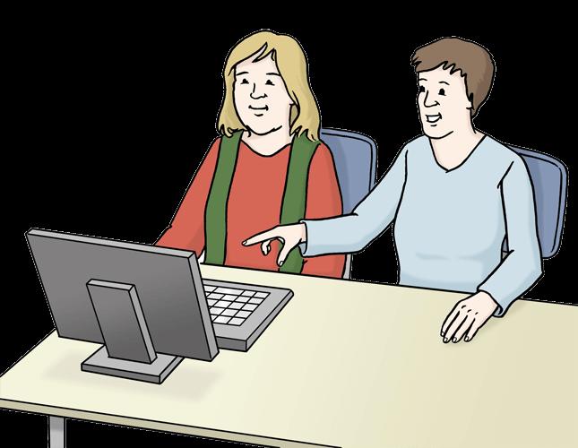 Eine Frau zeigt einer anderen Frau etwas am Computer.