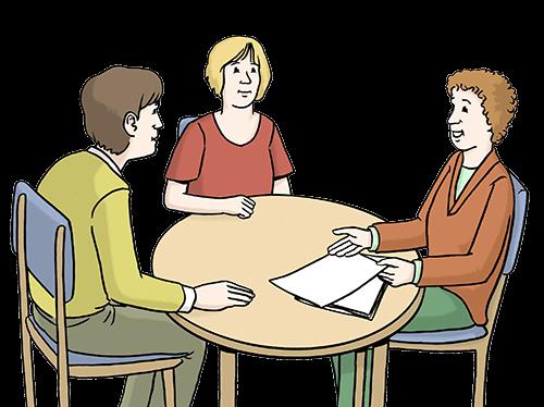 Drei Personen bei einer Beratung.