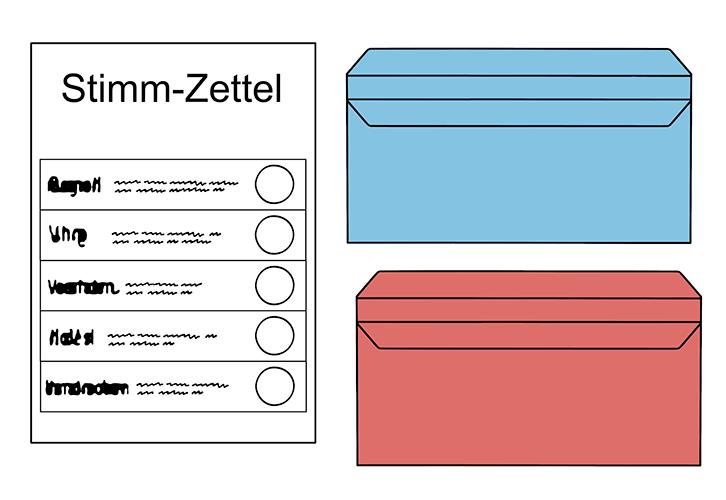 Stimm-Zettel mit 2 farbigen Brief-Umschlägen.