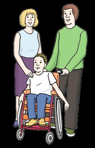 Eltern mit Kind. Das Kind sitzt im Rollstuhl.
