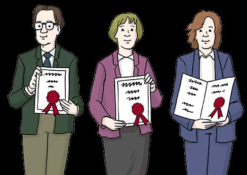 3 Fachleute mit Zeugnis.