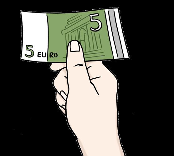 Eine Person bezahlt etwas mit einem Geldschein.