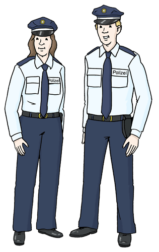 Eine Polizistin und ein Polizist.