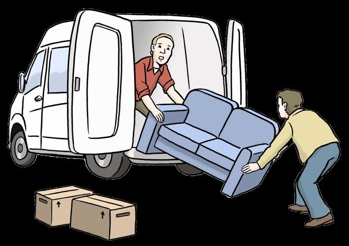 Personen packen einen Möbelwagen weil sie umziehen.