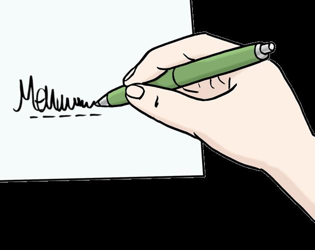 Eine Person unterschreibt ein Papier.