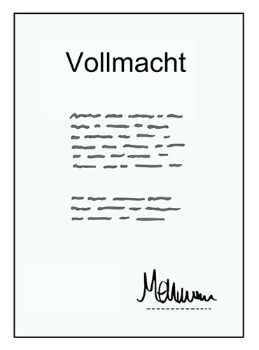 Papier mit der Aufschrift Vollmacht, Text und Unterschrift.