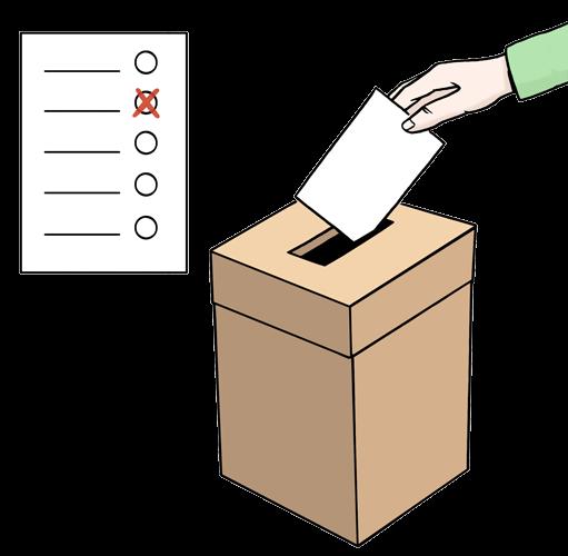 Stimm-Zettel in eine Box.