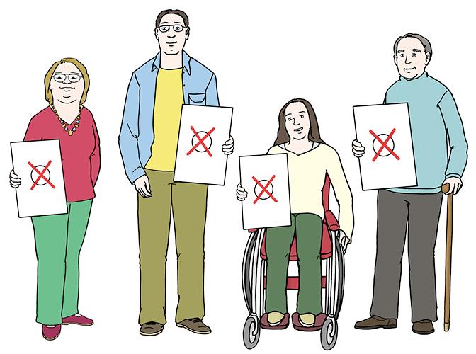 Menschen, die wählen dürfen. Sie halten Stimmzettel mit einem roten Kreuz in der Hand.