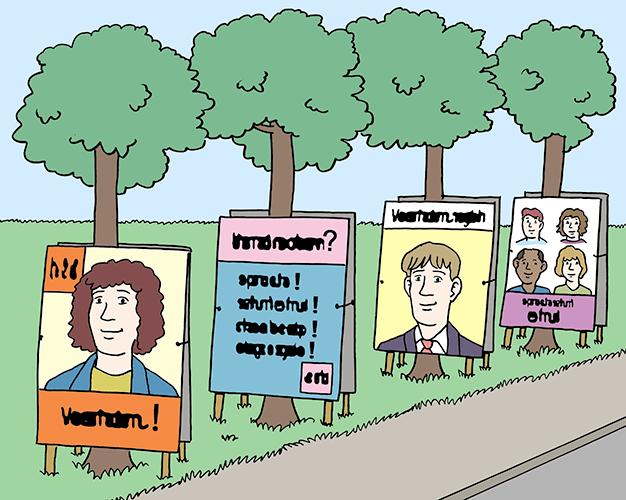 Straße mit Wahl-Plakaten.