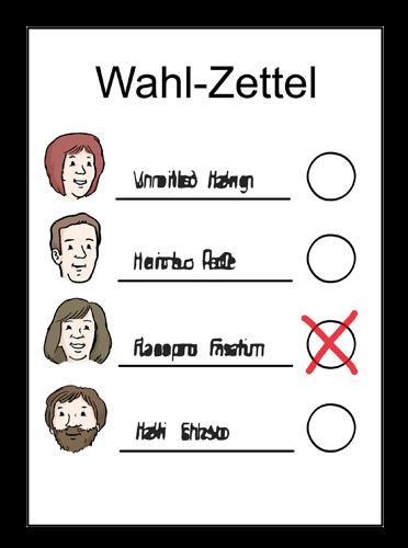 Wahl-Zettel zum Ankreuzen.